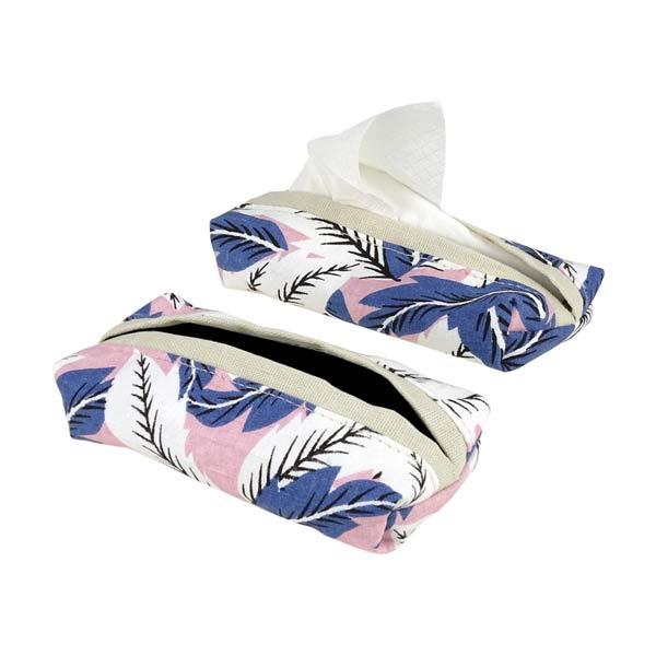 js innendekoration taschentuchspender samba leinen blau rosa contigo