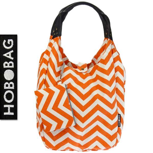 Tasche hobobag zigzag orange wei stoff contigo for Js innendekoration